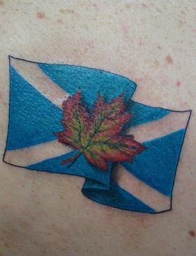 Scotland Flag And Maple Leaf Tattoo Tattooimages Biz