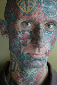 English flags full face tattoo